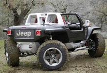 Holy turning radius! This is the Jeep Hurricane. It has a special 4-wheel steering system ...