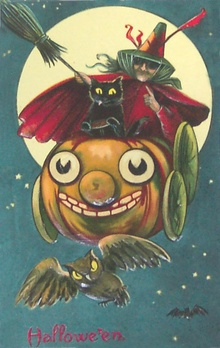 Early Halloween post card complete with space adventure.